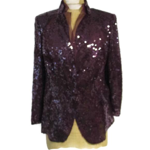 5b5b81db5b Akris Jackets   Blazers - AKRIS Bergdorf Goodman Purple Sequin Jacket 12 16